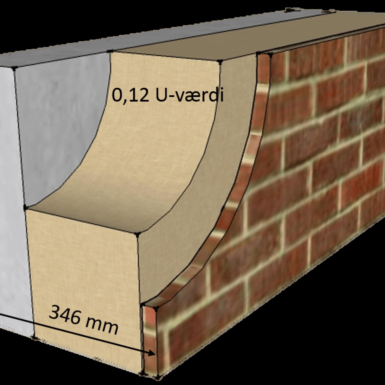 facadeisolering med teglskaller for en smal væg